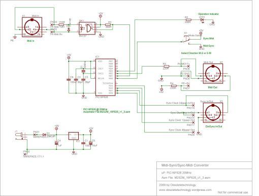 Midi to Sync/ Sync to Midi Converter Schematic
