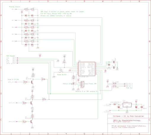 CV-Gate to Midi converter Schematics